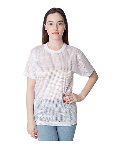 American Apparel Unisex Poly Mesh Athletic Tee - White / L