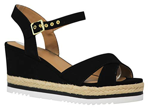 MVE Shoes Women's Low Wedge Strappy Suede Thick Platform, Ongoing Black nb 8.5