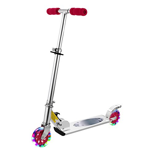 Yiilove Aluminum Scooter Foldable Kick Scooter 2 Wheel Adjustable Height Mini Kick Scooter with LED Light Up Wheels for Boys and Girls Kids Toddler (Type2 - Pink) ()