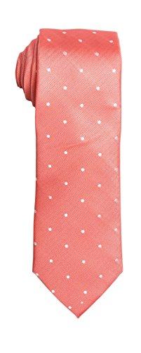 (SPREZZA Men's Polka Dot Tie Coral Classic 2.75 inch Slim Polyester Necktie)