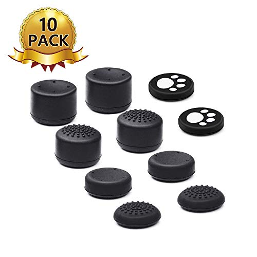 6amLifestyle 10 PCS Silicone Thumbstick Grips Compatible with PS4/ PS3/ PS2/ Switch Pro/Xbox 360 /Xbox One Controller
