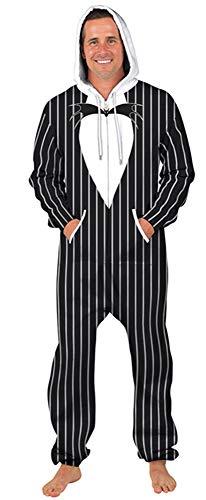 NAYINLAN Unisex 3D Digitaly All Over Print Zip Hoodie Jumpsuit Onesie Pajamas with Pockets,Panda Striped,M -