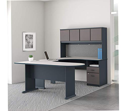 Wood & Style Furniture U Shaped Desk with Hutch Peninsula and Storage Premium Office Home Durable Strong