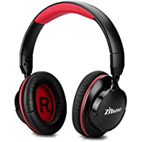 Zinsoko Bluetooth Headphone,ShareMe Over Ear Adjustable Headphones with Microphone, Wireless and 3.5mm Wired Dual Mode for Travel,Work,Sport Foldable Lightweight Headset,861-Black/Red