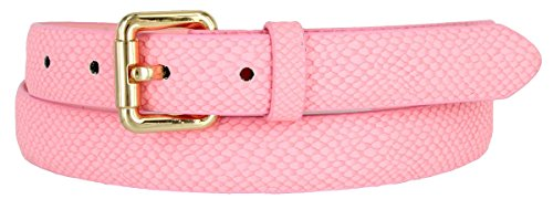Skinny Women's Snakeskin Embossed Leather Casual Dress Fashion Belt (Pink, Small) ()