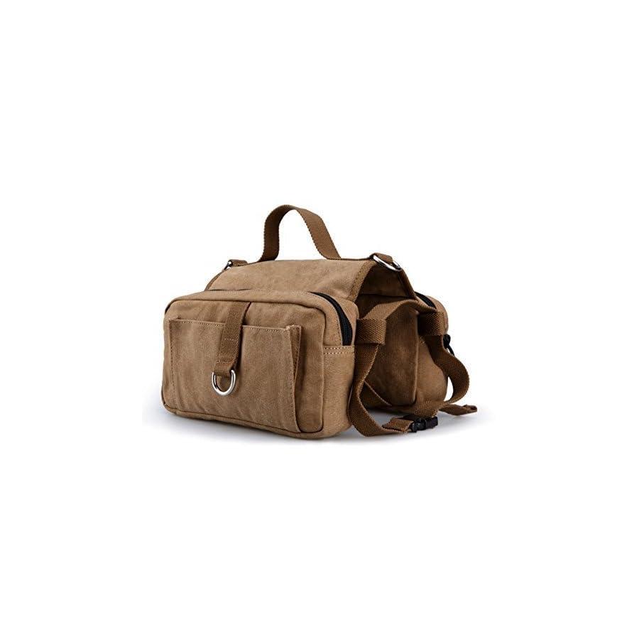 Pettom Pet Saddle Bag Cotton Canvas Dog Pack Hound Travel Backpack Camping Hiking Rucksack for Medium & Large Dog