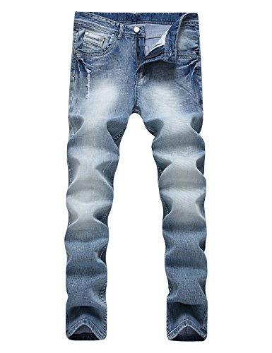 Men's Ripped Distressed Destroyed Straight Fit Washed Denim Jeans (38, 703 ()