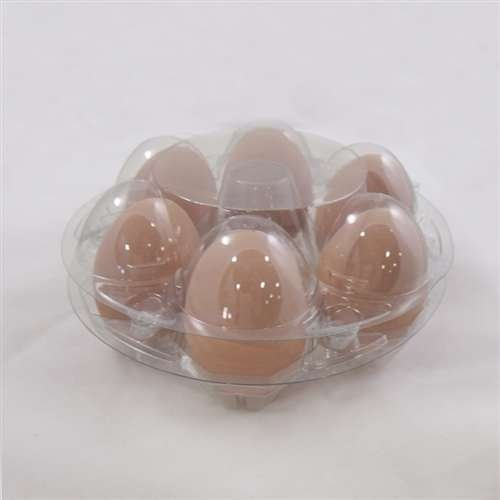 Round 7 Egg or 6 Egg Clear Plastic Egg Cartons, Set of 12