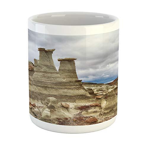 Lunarable New Mexico Mug, Bisti Badlands Chocolate Hoodoos and a Dull Sky, Printed Ceramic Coffee Mug Water Tea Drinks Cup, Sepia Pale Purpleblue Pale Caramel Dark ()