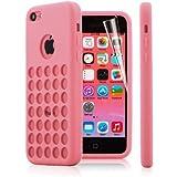 2010Kharido Ae Pink Retro Dots Hole TPU Silicone Back Case For iPhone 5C Retro Dots Hole