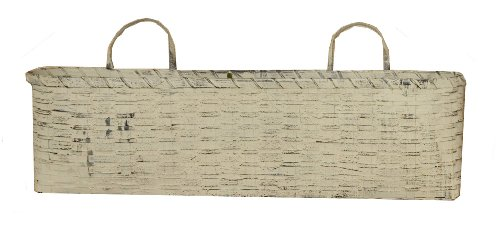 Your Heart's Delight 22-1/2 by 9-1/2 by 5-Inch Oval Hanging French Basket, Long, Whitewash