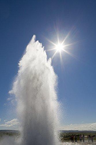 Tourists watching geyser eruption, Strokkur Geyser, Haukadalur, Iceland 30x40 photo reprint by PickYourImage