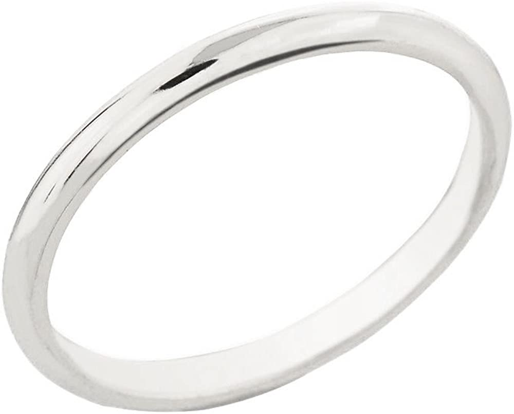 Dainty 14k White Gold Comfort-Fit Band Traditional 2mm Wedding Ring for Women