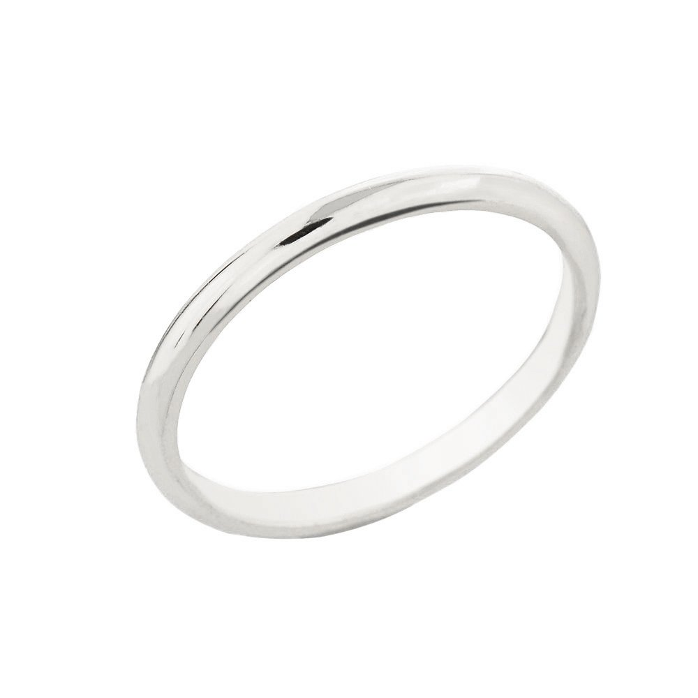 Dainty 10k White Gold Comfort-Fit Band Traditional 2mm Wedding Ring for Women, Size 8.25 by Classic Wedding Bands
