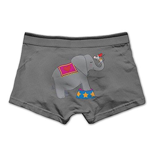 Pjiqe Circus Elephant With A Mouse Men's Underwear Cotton Comfortable Boxer Briefs M Ash