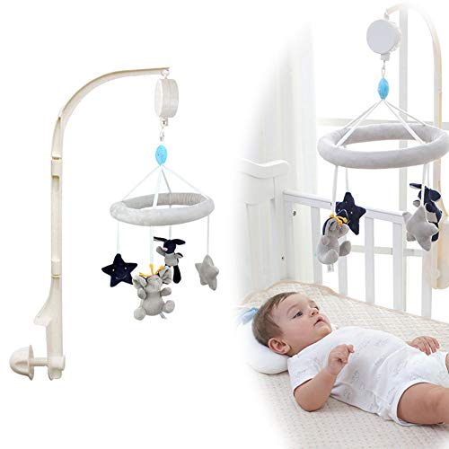 Deerbb Baby Musical Crib Mobile with Arm Bed Bell Interactive Nursery Toys for 0-12 Months Newborn Best Kids Boys Girls Gift Infant Cot Bassinet Mobile Bed Ring Music Box (Gray) ()
