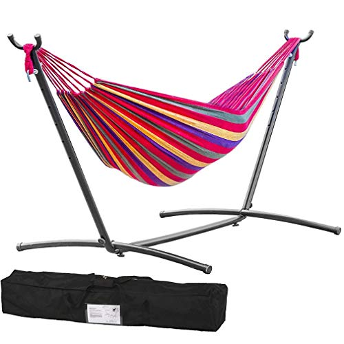 TechFaith Double Hammock Two Person Adjustable Hammock Bed with Space Saving Steel Stand Includes Portable Carrying Case, Easy Set Up Red Yellow