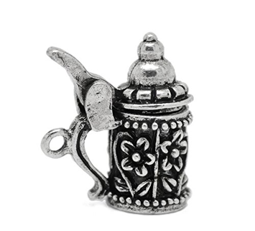 Housweety 10PCs Silver Tone Flower Pattern German Beer Stein Charm Pendants 19mmx18mm