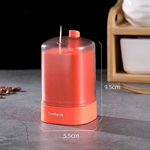 UNSKAM Portable Zahnstocher Box Halter Automatische Zahnstocher Box Einzigartig Popup Zahnstocherspender Restaurant Aufbewahrungs Box für Zahnhölzer (Wie Gezeigt, Orange)