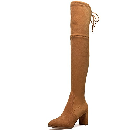 Handmade Brown Seven Nine Round Zip Women's Over Leather Heel Boots Yellowish Chunky Toe Suede Knee Up The Bowknot CnTqvnf