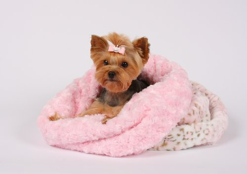 Cuddle Cup Dog Bed - Pink Lynx w/Pink Shag by Susan Lanci