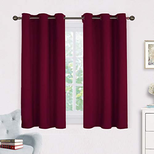 NICETOWN Burgundy Bedroom Curtains Blackout Draperies, Home Decorations on Thanksgiving Day Thermal Insulated Solid Grommet Top Blackout Drapes (One Pair,42 x 54-Inch,Red)