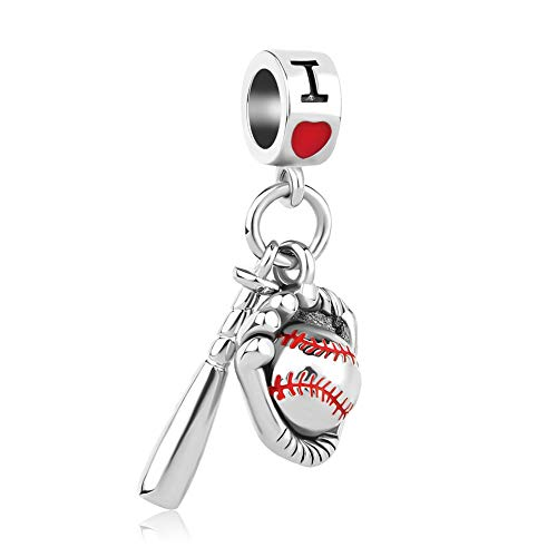 Lifequeen Soccer Mom Charm Heart I Love Sports Baseball Football Charms for Snake Chain Bracelets (Baseball Sport)