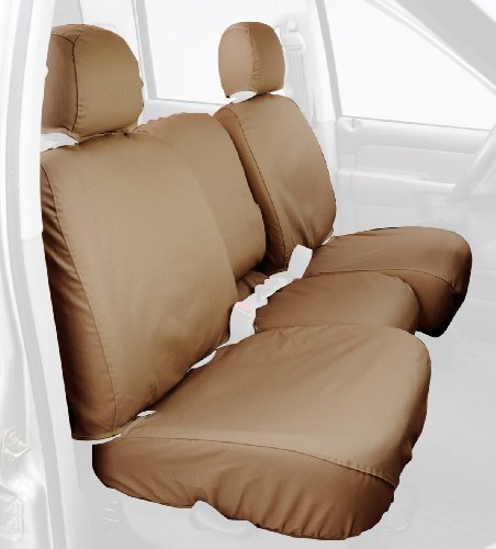 Covercraft Tan Cover - Covercraft Custom-Fit Rear-Second Seat Bench SeatSaver Seat Covers - Polycotton Fabric, Tan