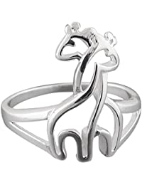 Sterling Silver Two Hugging Giraffes Ring, Sizes 6-9