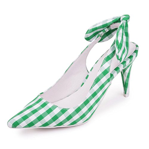 Jeffrey Campbell Cindy Gingham Fabric Pump Green and White, Size 8.5