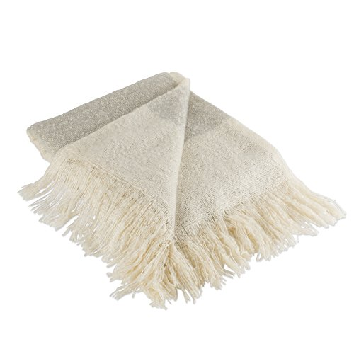 DII Rustic Farmhouse Acrylic Rugby Stripe Blanket Throw with Fringe For Chair, Couch, Picnic, Camping, Beach, & Everyday Use, 50 x 60