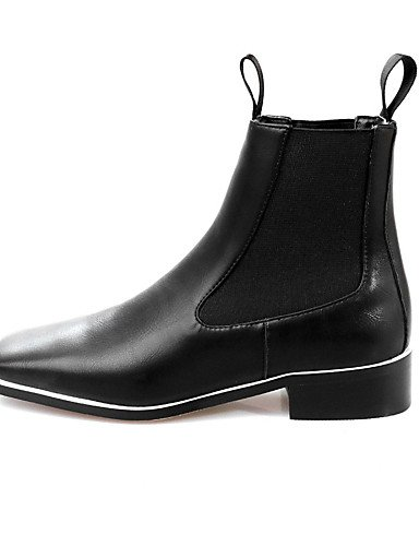 XZZ/ Damen-Stiefel-Outddor / Kleid / Lässig-Leder-Flacher Absatz-Quadratische Zehe / Modische Stiefel-Schwarz / Weiß white-us8 / eu39 / uk6 / cn39