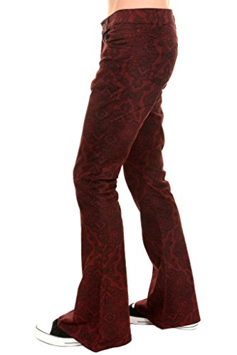 Mens Tall Bottoms (Mens Run & Fly 60s 70s Burgundy Paisely Stretch Twill Retro Bell Bottom Flares 38 Long)