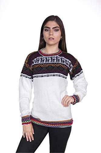 Raymis Peruvian Women´s Hand Knit Alpaca Rainbow Crew Neck Sweater (White, Medium)