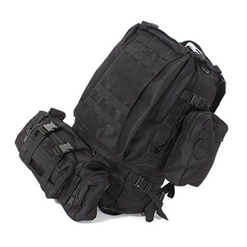 55L Taktischer Rucksack - TOOGOO(R) 55L 3D Aussen Militaer Taktischer Rucksack Wandern Tasche Camping, Schwarz
