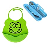 Sealive Soft Silicone Adjustable Baby Bibs,Waterproof for Easy Clean Up(Frog One),with Portable Training Spoon Stainless Steel Kids Beginner Chopsticks Learning Flat Set,Great Self-feeding Accessories