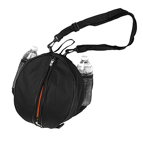 FoRapid Size 7 (29.5'') Basketball Bag Soccer Ball Football Volleyball Softball Sports Ball Bag Holder Carrier+Adjustable Shoulder Strap 2 Side Mesh Pockets f/ Water Bottle Towel Sports Shoes -Black by FoRapid