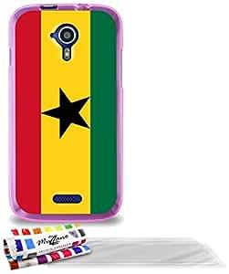 """Carcasa Flexible Ultra-Slim WIKO CINK FIVE de exclusivo motivo [Ghana Bandera] [Rosa] de MUZZANO  + 3 Pelliculas de Pantalla """"UltraClear"""" + ESTILETE y PAÑO MUZZANO REGALADOS - La Protección Antigolpes ULTIMA, ELEGANTE Y DURADERA para su WIKO CINK FIVE"""