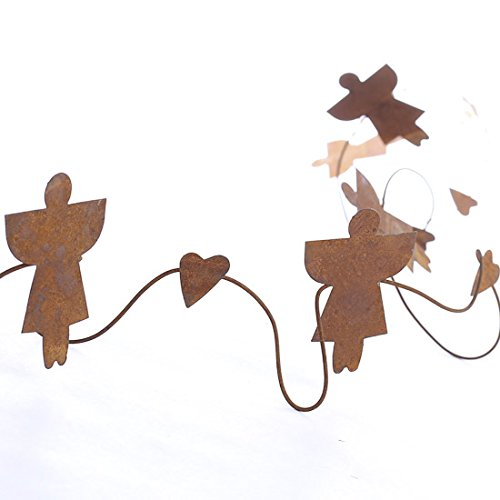 Factory Direct Craft® 18 Feet of Rusty Tin Angels and Hearts Wired Garland for Indoor and Outdoor Decor