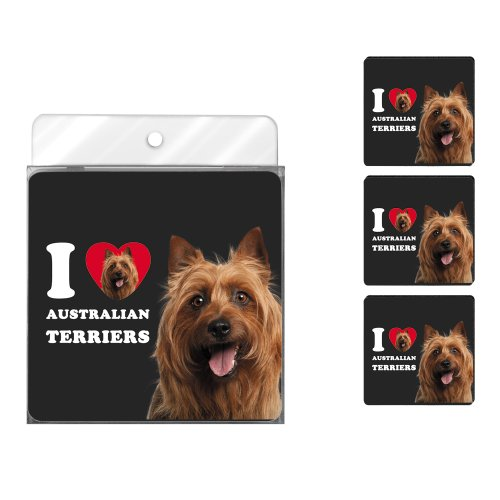 Tree-Free Greetings NC39000 I Heart Australian Terriers 4-Pack Artful Coaster Set, Red