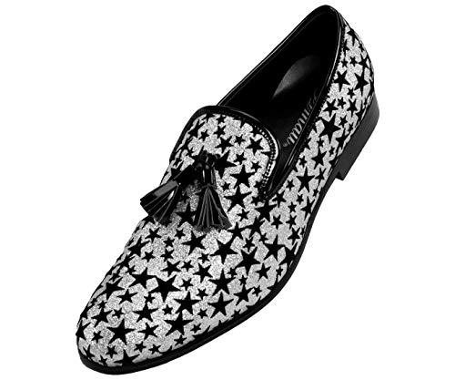 Amali Men's Loafer Dress Shoe Metallic Glitter Star Patterned Slip-On's with Black Tassel, Style Starry