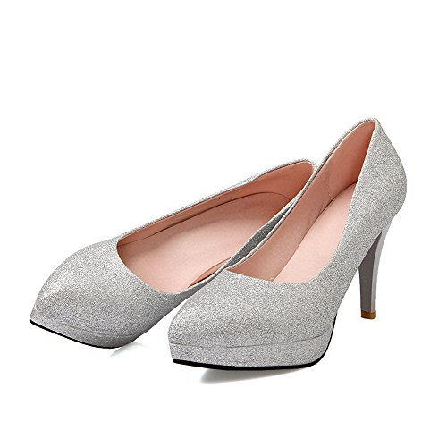 Amoonyfashion Womens Matériau Souple Pointu Fermé Orteils Pointes Stilettos Tirer Sur Des Pompes-chaussures Argent