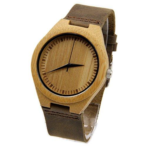 Biao&MZ El nuevo reloj masculino natural madera bambú correa de cuero ocio negocio regalos usable accesorios