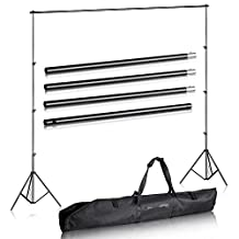 Studio-98 Photography 10' Wide x 7' FT High Background Stand with Bag for Backdrop Muslin Paper with Two Stands, Metal Crossbar in 4 Sections for Photo Video