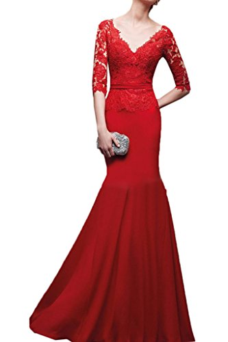 Rot Halb Festkleid Abendkleid Damen Mermaid Partykleid V Ivydressing Meerjungfrau Ausschnitt Rueckenfrei Aermel Promkleid HUqxwaf7