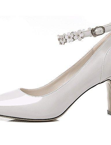 GGX/Damen Schuhe Patent Leder Frühling/Sommer/Herbst/Winter Heels Office & Karriere/Casual Chunky Heel Schwarz/Weiß white-us7.5 / eu38 / uk5.5 / cn38