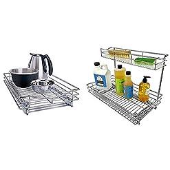 Kitchen Lynk Professional Organizer Pull Out Under Cabinet Sliding Shelf, 14″ W x 21″ D, Chrome & Professional Under Sink Cabinet Organizer Pull Out Two Tier Sliding Shelf, 11.5w x 18d x 14h-Inch, Chrome pull-out organizers