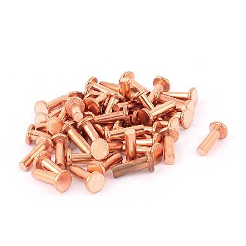 Uxcell a15091700ux0392 50 Pcs 13/64'' x 5/8'' Flat Head Bolts Copper Solid Rivets Fasteners by uxcell