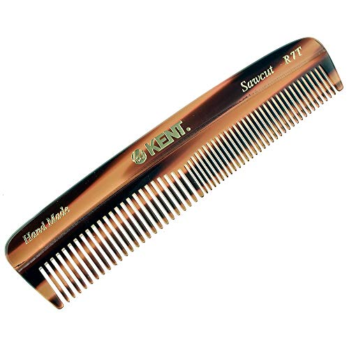 Kent R7T 'The Apsley' Hand Made Fine and Coarse Toothed Saw-Cut Pocket Travel Comb (5' / 130 mm) - Gentle On Scalp For Men / Women