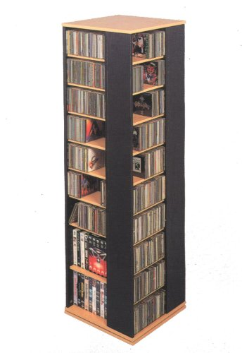 Leslie Dame CD-1040C Revolving CD / DVD Storage Tower, Oak with (Cd Dvd Spinning Media)